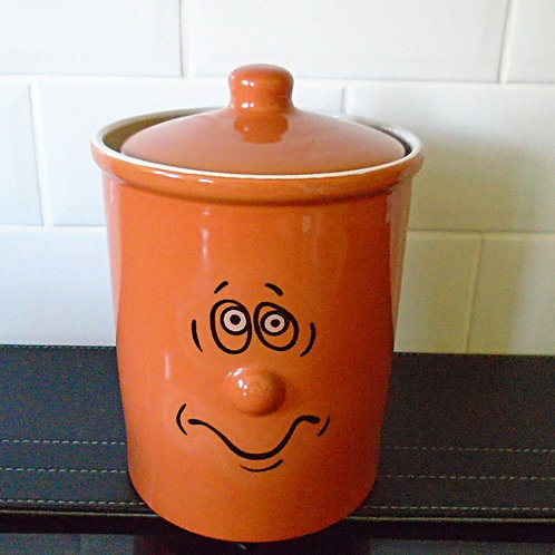 Trade Winds Funny Faces Storage Jar Cannister Orange