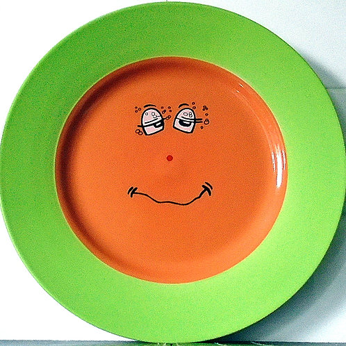 Trade Winds Funny Faces Dinner Plate Green /Orange