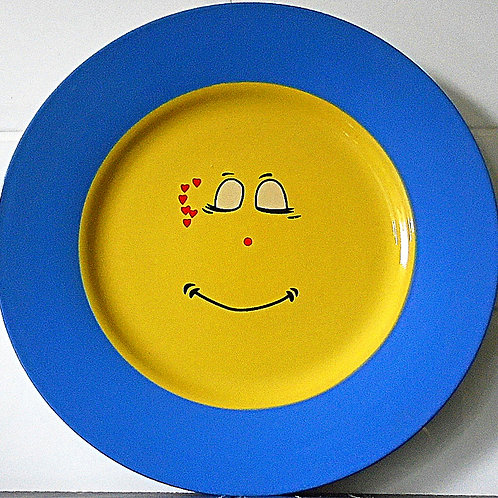 Trade Winds Funny Faces Dinner Plate Blue / Yellow