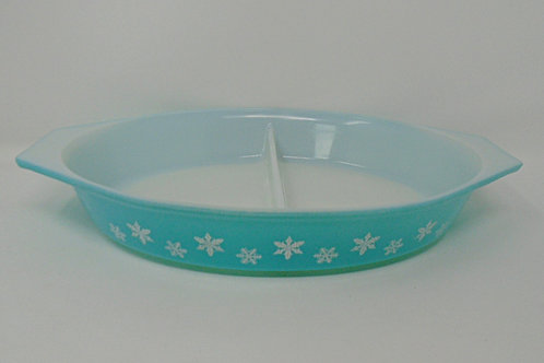 Vintage JAJ Pyrex Turquoise Blue Gaiety Snowflake Oval Casserole Dish