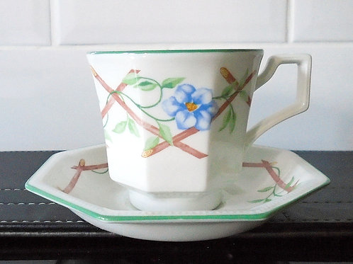 Johnson Brothers Garden Trellis Demi Tasse Coffee Cup and Saucer
