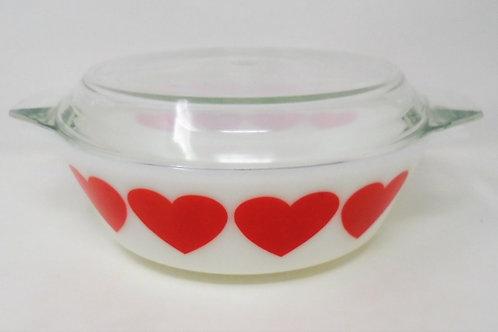 Vintage JAJ Pyrex Red Hearts 513 Casserole Dish