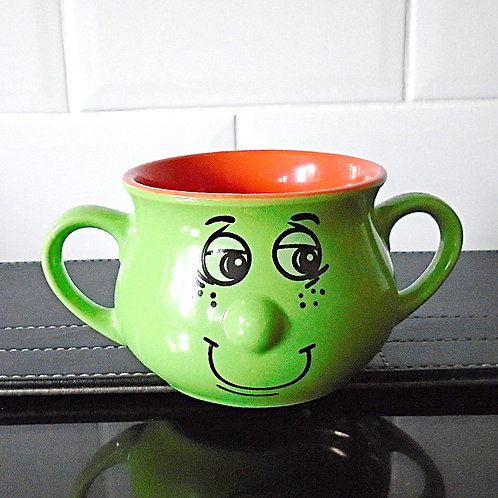 Trade Winds Funny Faces Handled Bowl Dish Green / Orange