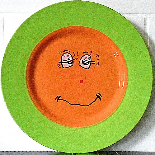 Trade Winds Funny Faces Salad Side Plate Green / Orange