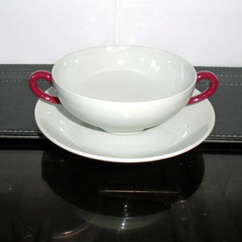 Wedgwood Windsor Handled Soup Coupe / Bowl and Stand
