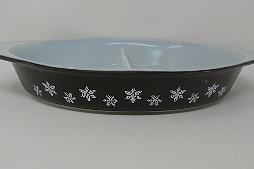 Vintage JAJ Pyrex Black and White Gaiety Snowflake  Oval Casserole Dish