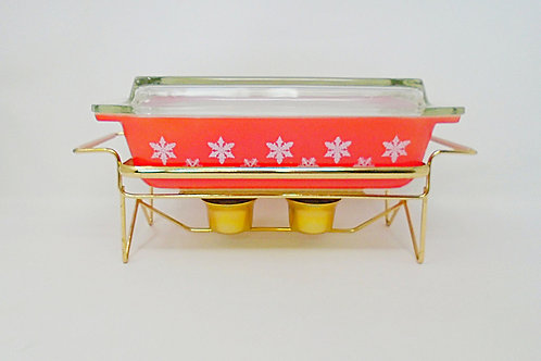 Vintage JAJ Pyrex Red and White Gaiety Snowflake Space saver Casserole