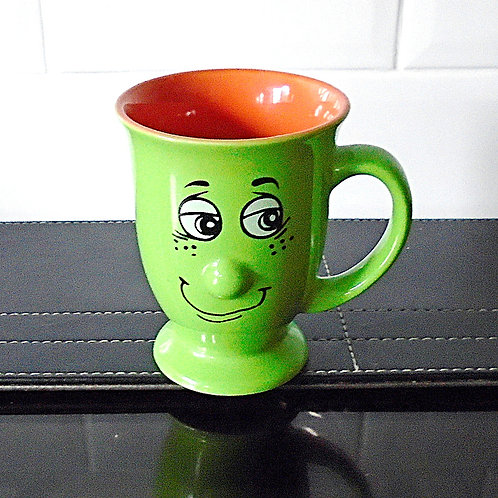 Trade Winds Funny Faces Mug Green / Orange