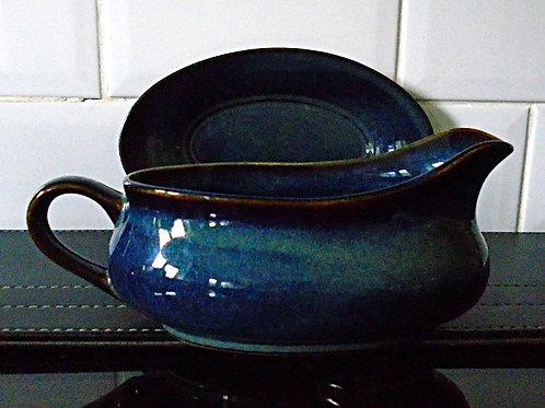 Hornsea Pottery Brecon Blue Gravy Boat & Stand