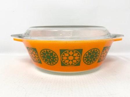 Vintage JAJ Pyrex Orange Medallion Five Casserole D