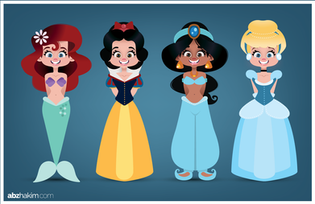 -drawing-cartoon-sketch-art-illustration-Character-design-disney-princesses-snowwhite-belle-beauty-cute-ariel-mermaid-jasmine-