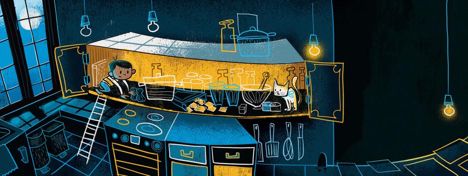 Kids book childrens illustration cartoon book illustrator arabic english cute funny silly abz hakim kitty, kitten, cats, refugee, boy, middle eastern, art, photoshop, brush, texture