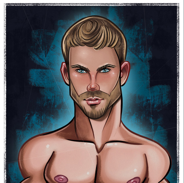 Caricature - Portraite - Graphic Design - Illustration - Male Model - Hunky - muscle - Abz Hakim