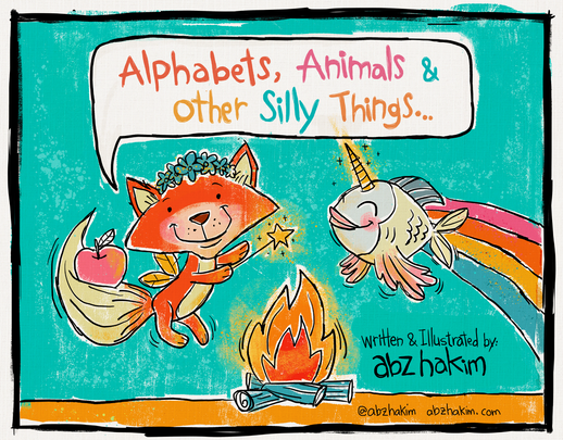 Kids book cildrens illustration cartoon book illustrator arabic english cute funny silly abz hakim animals