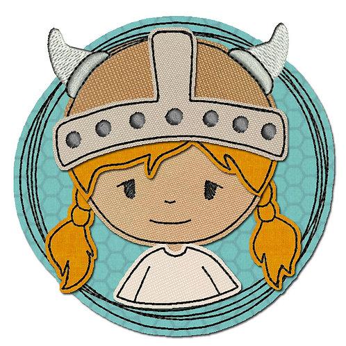 Doodle-Button Wikingerin 13x13cm