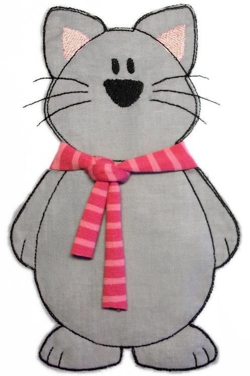 Katze mit Schal - Doodle-Stickdatei 10x10cm