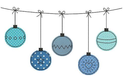 Weihnachtskugeln - Doodle-Stickdatei 13x18cm