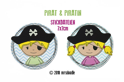 Set Piraten - 2 Doodle-Stickdateien 7x7cm