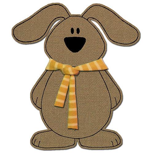 Hund mit Schal - Doodle-Stickdatei 13x18cm