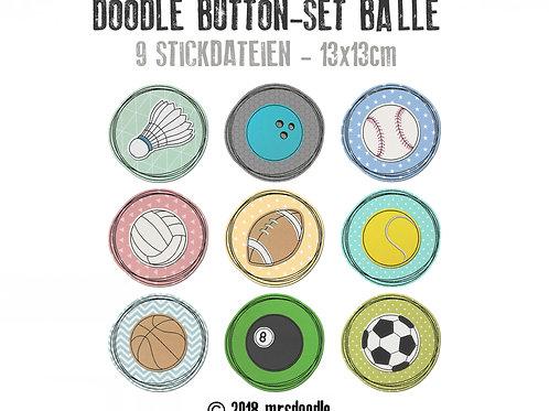 Sport Bälle-Set - 9x Doodle-Button 13x13cm