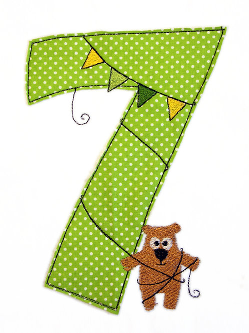 Geburtstags-Doodle 7 Jahre - Stickdatei 13x18cm