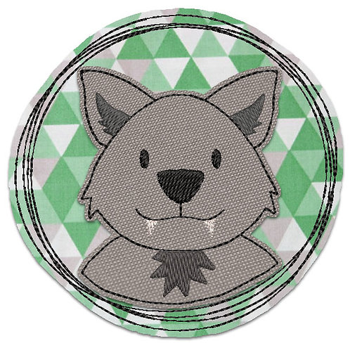 Wolf - Doodle-Stickdatei 10x10cm