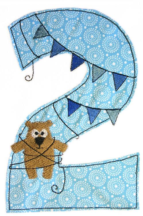 Geburtstags-Doodle 2 Jahre - Stickdatei 13x18cm