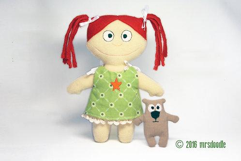 Püppchen mit Teddy - ITH-Stickdatei 16x26cm