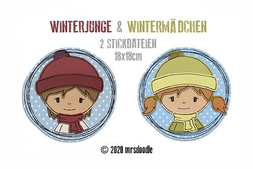 Set Winterkinder- 2 Doodle-Stickdateien 18x18cm