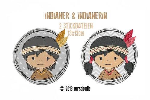 Set Indianer - 2 Doodle-Stickdateien 13x13cm