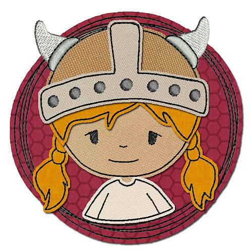Doodle-Button Wikingerin 10x10cm