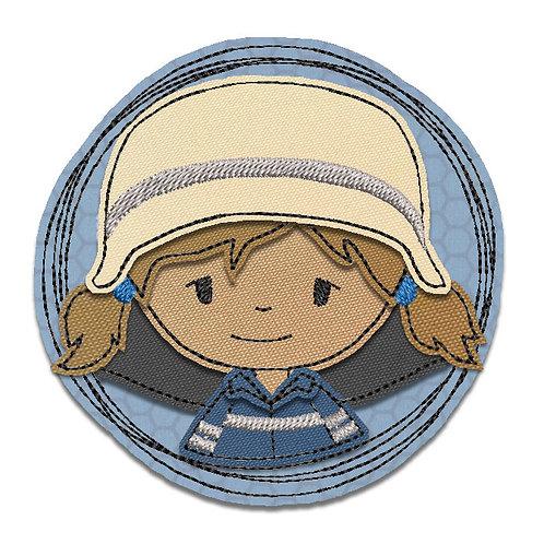 Feuerwehrfrau - Doodle-Stickdatei 10x10cm