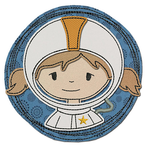 Doodle-Button Astronautin 13x13cm