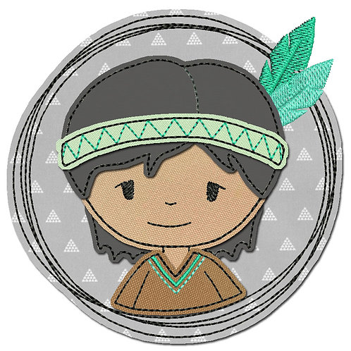 Doodle-Button Indianer 10x10cm