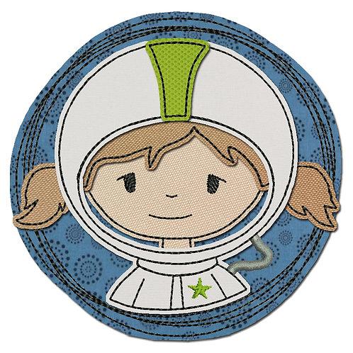 Doodle-Button Astronautin 7x7cm