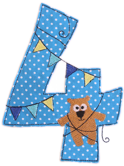 Geburtstags-Doodle 4 Jahre - Stickdatei 13x18cm