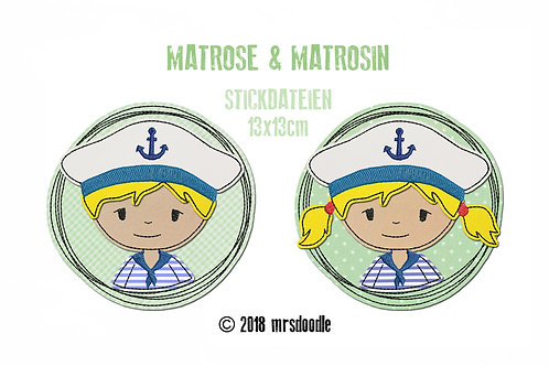 Set Matrosen - 2 Doodle-Stickdateien 13x13cm