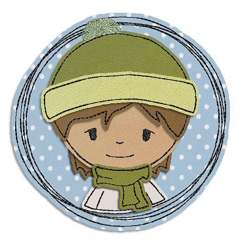 Winterjunge - Doodle-Stickdatei 13x13cm