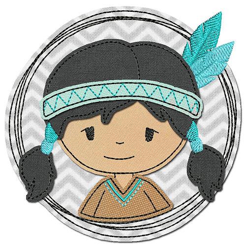 Doodle-Button Indianerin 7x7cm