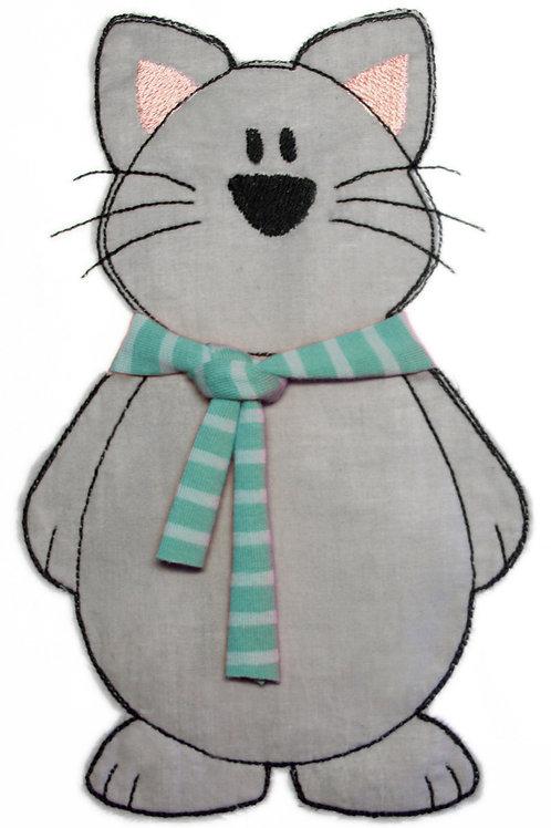 Katze mit Schal - Doodle-Stickdatei 9x14cm