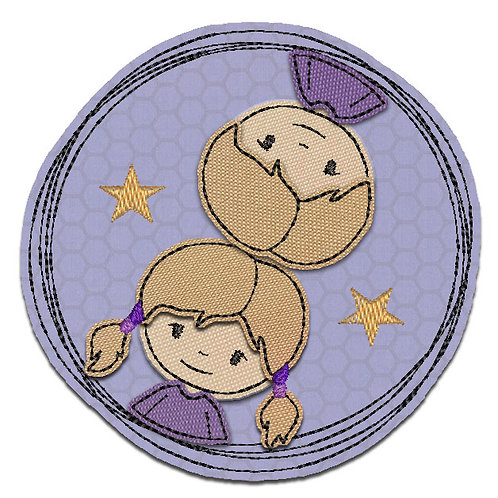 Doodle-Button Zwillinge 18x18cm
