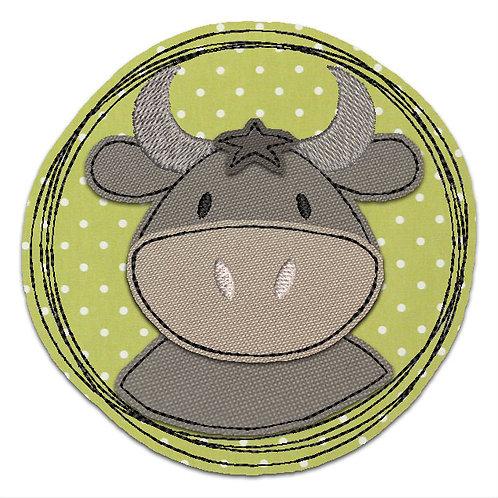 Doodle-Button Stier 10x10cm
