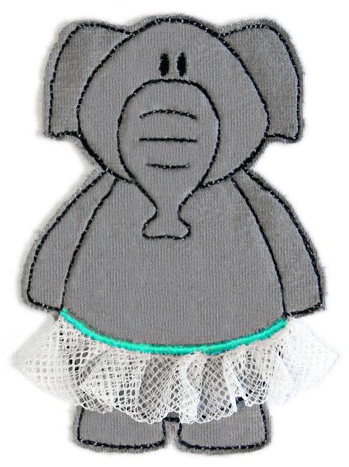 Elefant im Tütü - Doodle-Stickdatei 10x10cm