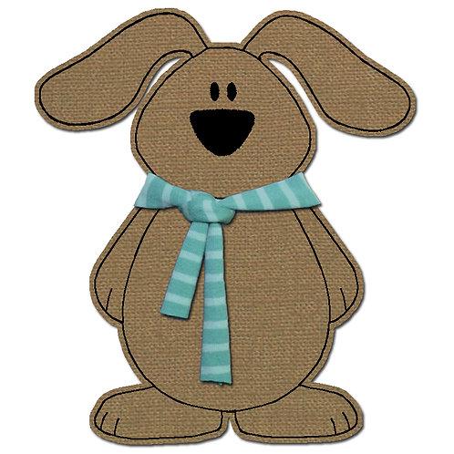 Hund mit Schal - Doodle-Stickdatei 16x26cm