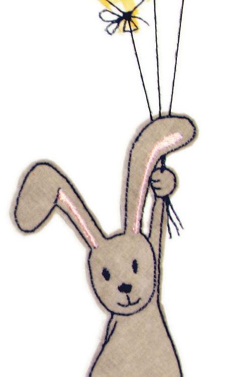 Hase mit Luftballons - Doodle-Stickdatei 16x26cm