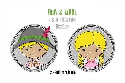 Set Madl & Bua- 2 Doodle-Stickdateien 10x10cm