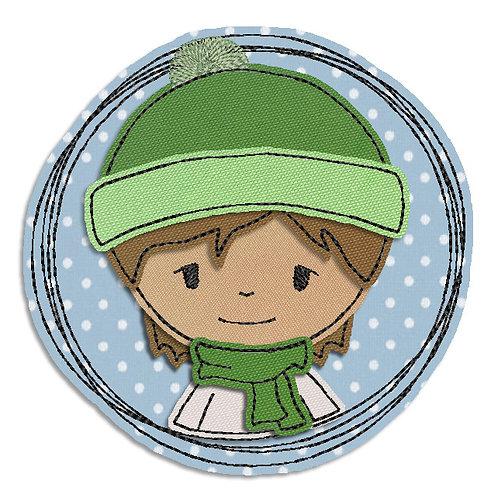 Winterjunge - Doodle-Stickdatei 7x7cm