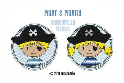 Set Piraten - 2 Doodle-Stickdateien 13x13cm