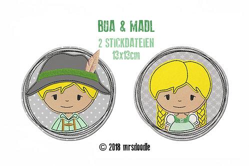 Set Madl & Bua- 2 Doodle-Stickdateien 13x13cm