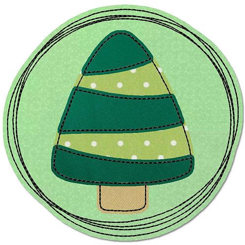 Doodle-Button Tanne 13x13cm
